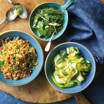 Quinoa with carrots, hazelnuts and pomegranate, summer squash with mint and pine nuts, lamb's lettuce with herbs