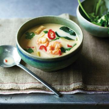 Thai coconut and lemongrass soup with shrimp