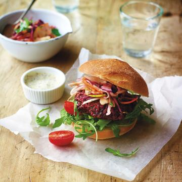 Beetroot burger with wholegrain mustard mayonnaise