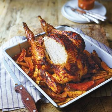 Harissa roast chicken with spiced swede, squash and sweet potato