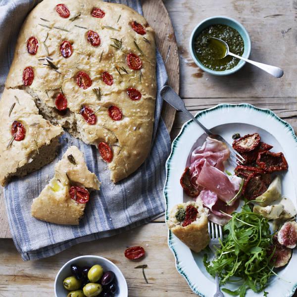 Spelt Focaccia with Italian antipasti